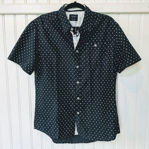 Navy print woven shirt button down
